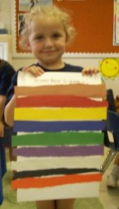 """For Brown Bear, Brown Bear What Do You See? """"Following the art work at the beginning of the book we tore construction paper into strips then glued them in chronological order. Perfect for retelling the story at home to family and friends. """""""