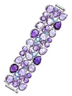 @Anzie LaRosa LaRosa LaRosa LaRosa LaRosa Bouquet Cuff Bracelet - Amethyst  Blue Topaz