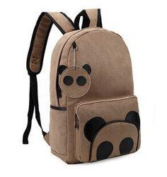 High Quality Suede Panda Backpack Schoolbag College Rustic Tide Packsack Korean Middle School Knapsacks Women Vintage Casual Bag
