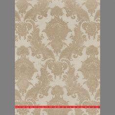 Sample of Bone Heirloom Velvet Flocked Wallpaper by Burke Decor