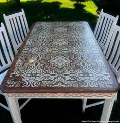 Boho Chic Stained Wood and White Chalk Paint Painted Furniture Table Top with Lisboa Tile Stencils - Royal Design Studio # refurbished Furniture Lisboa Tile Stencil Refurbished Furniture, Repurposed Furniture, Table Furniture, Furniture Makeover, Home Furniture, Furniture Design, Street Furniture, Furniture Ideas, Cheap Furniture