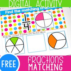 Perfect for distance learning- No printer needed Shape Activities Kindergarten, Subtraction Activities, Fraction Activities, Numbers Kindergarten, Math Games, Fraction Games, Learning Activities, Math Fractions, Dividing Fractions