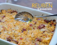 Reuben Casserole, like a reuben sandwich in a casserole, with corned beef, sauerkraut and Swiss cheese. A great way to use up leftover corned beef. Paleo Recipes, Low Carb Recipes, Great Recipes, Cooking Recipes, Favorite Recipes, Easy Recipes, Bariatric Recipes, Irish Recipes, Freezer Cooking