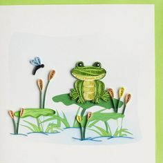 "Frogs are 'in.'  There is a lot of quilling on this cute, all-purpose card.   Card is blank inside so you can write your own special message.  These cards are so impressive and have a ""wow"" factor that they will become a treasured keepsake for your loved ones.  This is one of our most popular cards.  Each portrait sized card is individually wrapped and comes with a mailing envelope. NOTE:  This card is being discounted due to missing quilling on the cattails.   Request ""Hand Processing""…"