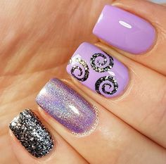 Purple swirl nails