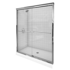 KOHLER Fluence 59-5/8 in. x 70-5/16 in. Semi-Framed Sliding Shower Door in Bright Polished Silver with Clear Glass-K-702206-L-SHP - The Home Depot