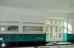 Aqua Green Splashback Crystalline Collection. Glass Kitchen splashbacks and non-scratch worktops from CreoGlass Design (London, UK) www.creoglass.co.uk #kitchen