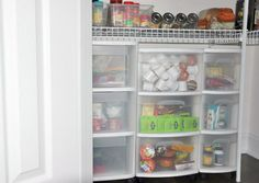 IHeart Organizing: Reader Space: Jenn's Pretty and Practical Pantry - I love plastic bins and am always wondering what to do with them... this looks like a good way to use the bottom space of a pantry