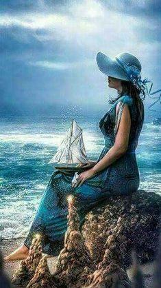 Woman and sea, ship.