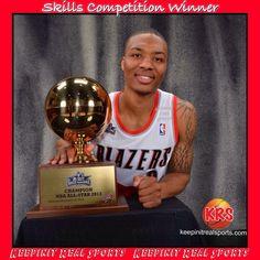 NBA All-Stars Skills Competition Winner  Portland Trailblazers rookie Damian Lillard.