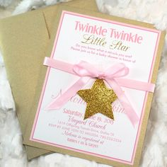 Twinke Twinkle Little Star Gold Baby Shower Invitations handmade set 12 Shimmery Gold Sparkle Glitter Pale Pink Girl Theme Printed handmade by mimsysnest on Etsy https://www.etsy.com/listing/218996037/twinke-twinkle-little-star-gold-baby