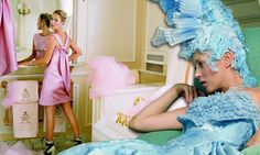 Kate Moss is a modern-day Marie Antoinette as she models couture gowns in the Ritz Paris's Coco Chanel suite