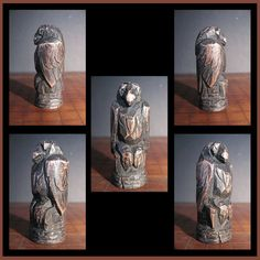 Carved Cherry Crow Totem Initialed by Artist on by elfWorksLane, $90.00