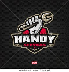 Modern professional handy services logo with hand holding wrench - stock vector