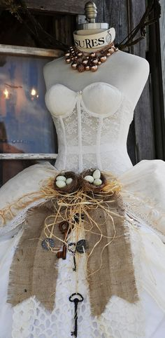 birds nest and eggs with burlap and raffia