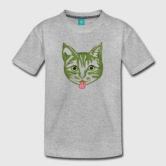 A design originating from artist Alan Hogan's original acrylic-on-canvas painting called 'Finnish Cat' @spreadshirt #spreadshirt #littlegreenmollycat #hoganfinland #mollycatfinland #catseyes #kidsclothes #summerkids #tees #tshirts #catstyles #catoftheday #coolcat #gato #katze #katt #kissa #pinktongue #bosscat #topcat #green #kidsfashion #europeanstyle #cutecats