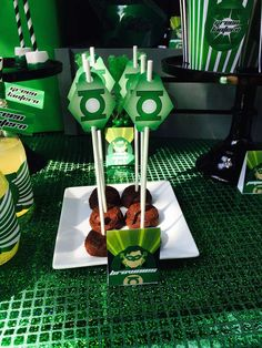 Green Lantern birthday party treats! See more party ideas at CatchMyParty.com!