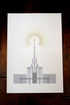 Portland, OR, Oakland CA, Manti, UT, Idaho Falls ID, Bountiful UT, Rexburg ID, Denver, Colorado LDS Temple 13x19 print