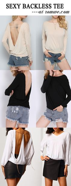 Sexy Backless Tee with hot shorts. Loose long sleeve t-shirt for work. Nice soft shirt for spring. Gorgeous with these pretty look out for date.