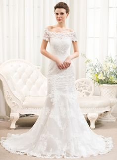 Trumpet/Mermaid Off-the-Shoulder Court Train Tulle Lace Wedding Dress (002054375)