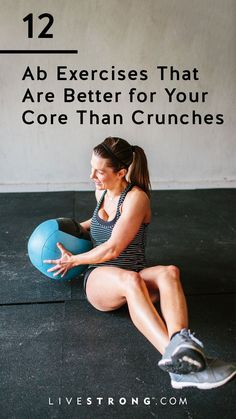 12 Ab Exercises That Are Better for Your Core Than Crunches Crunches likely won't get you the abs you're dreaming of. Instead, try these 12 ab exercises to strengthen your core and build towards the sculpted midsection you want. Fitness Workout For Women, Fitness Diet, Body Fitness, Fitness Goals, Fitness Motivation, Health Fitness, Workout Men, Men Health, Sweat Fitness