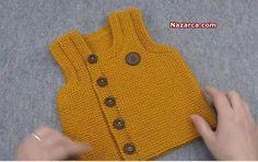 Örgü Sarı Önden Düğmeli Erkek Bebek Yelek Modeli-Türkçe videolu baştan sona açıklamalı Örgüden Şiş İşi Sarı Bebek Yelek Modeli. Bu güzel Önden Düğmeli Bebek Süveteri içinnako renk vega 10649 yumak…