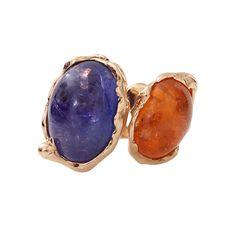 Tanzanite And Mandarin Garnet Contrarie Ring