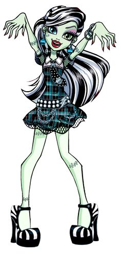 Monster High: Frankie Stein! Frankie Stein is the daughter of Frankenstein's Creature. Having been alive for only a short time, she is incredibly eager to learn more about the world around her, and is always ready to try new things with her friends. Her pet is a dog-like creature named Watzit.
