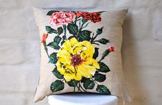 CARNATIONS & ROSES Vintage Irish  Linen Tea by collectingfeathers, $40.00