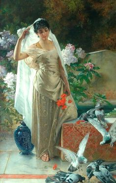 """ Conrad Kiesel - Girl with Pigeons """