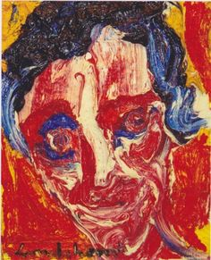 Bengt Lindstrom  Ritratto di un amico.Olio su tela, cm 48 x 37, anni '80.