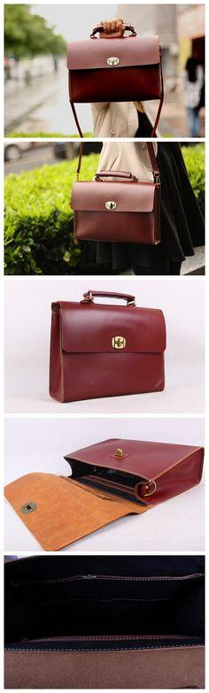 Handmade Leather Satchel Bag Shoulder Bag IPAD Bag Tote Bag D200
