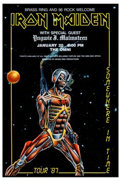 Iron Maiden - Somewhere in Time tour 1987 Hard Rock, Tour Posters, Band Posters, Heavy Metal Bands, Heavy Metal Rock, Power Metal, Rock Roll, Woodstock, Iron Maiden Cover