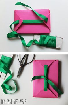 Fast gift wrap packaging and when out of tape Present Wrapping, Creative Gift Wrapping, Wrapping Ideas, Creative Gifts, Gift Wrapping Tutorial, Gift Wrapping Bows, Wrapping Papers, Craft Gifts, Diy Gifts