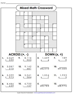 This picture will take you to a Middle Grades worksheet creator link. This specific worksheet I chose is a division worksheet. The students solve the division problems and try to finish the crossword. Long Division Worksheets, 4th Grade Math Worksheets, Math Division, Maths Puzzles, Fun Worksheets, Crossword Puzzles, Division Strategies, Long Division Activities, Decimal Division