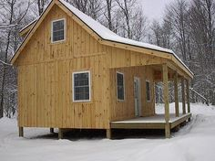 059 Small Log Cabin Homes Ideas Small Log Cabin, Tiny Cabins, Little Cabin, Tiny House Cabin, Loft House, Log Cabin Homes, Cabins And Cottages, Small House Plans, Little Houses