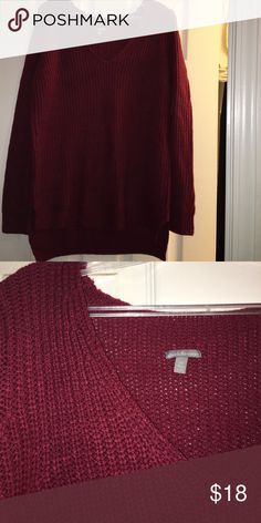 NWOT burgundy Oversized knitted Sweater Never worn. Took tags off without trying it on. Super cute burgundy and in PERFECT condition! Charlotte Russe Sweaters V-Necks