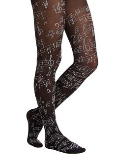 Magnifique Musique Tights. Today beautiful music will be made when you construct an ensemble with these sheer black tights. #black #modcloth