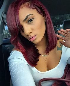 Cherry wine! Deep Burgundy Red Weaves And Wigs For Black Women,Side Bangs!