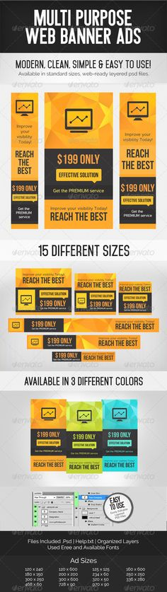 Multi Purpose Web Banner Ads Template PSD | Buy and Download: http://graphicriver.net/item/multi-purpose-web-banner-ads/7105262?WT.ac=category_thumb&WT.z_author=ColorChemistry&ref=ksioks