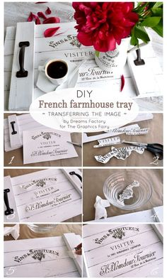 Home Interior Bohemian Learn how to make a DIY French Farmhouse Tray from scratch, decorate it with a beautiful French graphic and use it to give your home a chic farmhouse style - by Dreams Factory for the Graphics Fairy Country Farmhouse Decor, French Farmhouse, Farmhouse Style, White Farmhouse, Modern Farmhouse, Vintage Farmhouse, Country Chic, Vintage Kitchen, French Country Rug