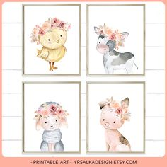 Farm animals nursery print set 6 Baby Cow Sheep Pig Chick Farmhouse Decor Little girl pink bedroom Creatures Wall decor Barnyard by #yrsalka on Etsy https://www.etsy.com/yrsalkadesignFloral #nursery #floralnursery #animalnursery #nurseryinspo #farmanimals