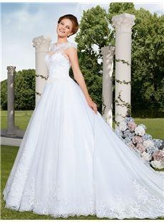206.49 dresssea.com SUPPLIES  Fashionable White Scoop Neckline Cap Sleeve Appliqued Chapel Train Wedding Dress