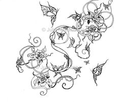 Roses And Butterflies Coloring Page Art Nouveau Adult