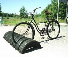 two birds with one stone, a use for old tires AND solution for the bikes.
