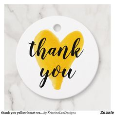 thank you yellow heart watercolor modern chic favor tags  #favor #tags #favortags #thankyoutags #ad #heart