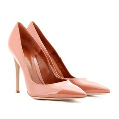 Gianvito Rossi Patent-Leather Pumps ($424) ❤ liked on Polyvore featuring shoes, pumps, heels, spice, patent leather pointed toe pumps, heels & pumps, pointy pumps, pointy high heel pumps et patent leather shoes