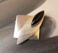 Black onyx Sterling silver brooch handmade metalwork by Mirma