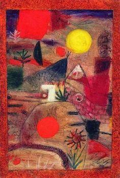 Paul Klee-Ceremony and Sunset-1920  Klee a achèvé en 1913 des illustrations pour le Candide de Voltaire.