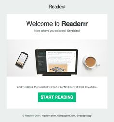 Simple Effective Welcome Email from Readerrr